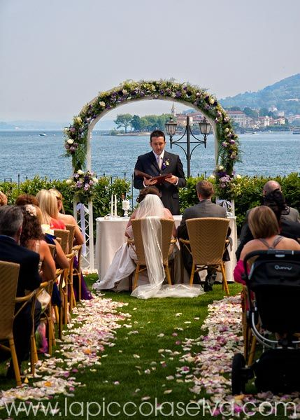 #arch of flowers - outdoor wedding decorations at Grand Hotel Dino, Lake Maggiore - Italy