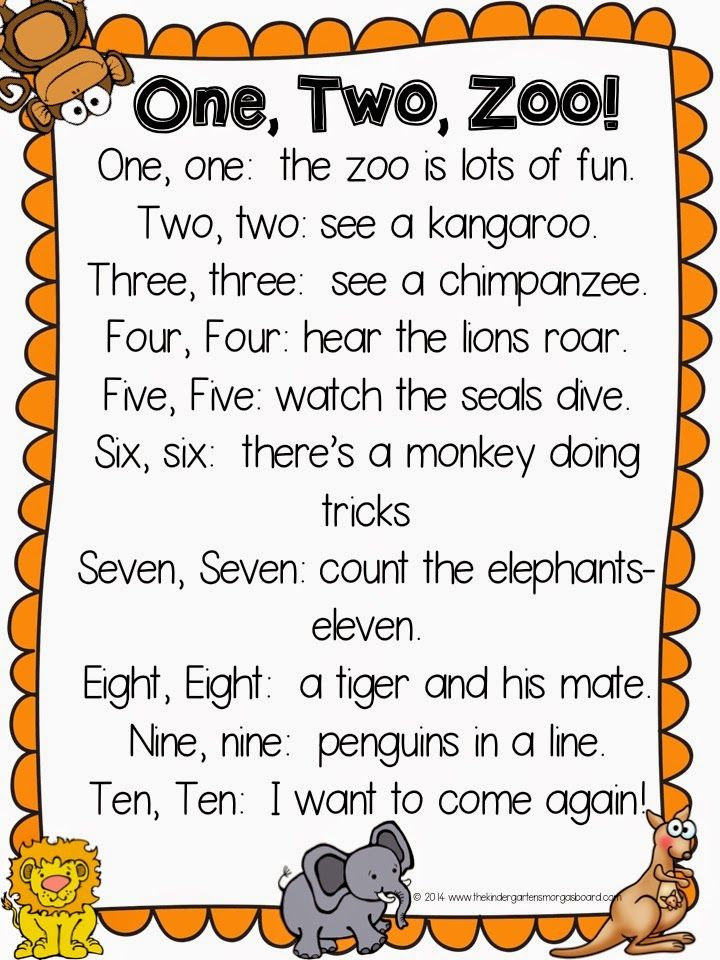 A Kindergarten Smorgasboard. Zoo poem; number words.