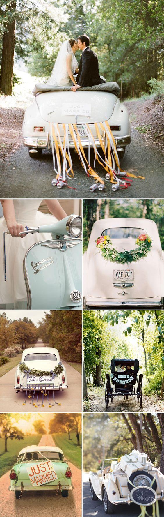 vintage wedding getaway cars / http://www.himisspuff.com/ways-to-decorate-your-wedding-getaway-car/6/