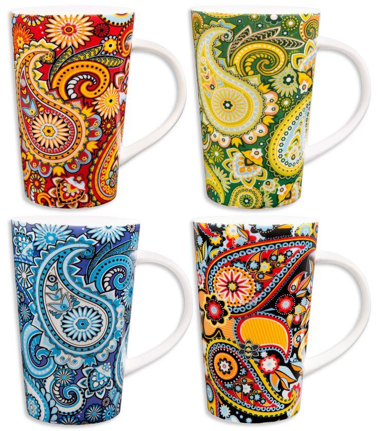 Modern Paisley 14oz Latte Mugs