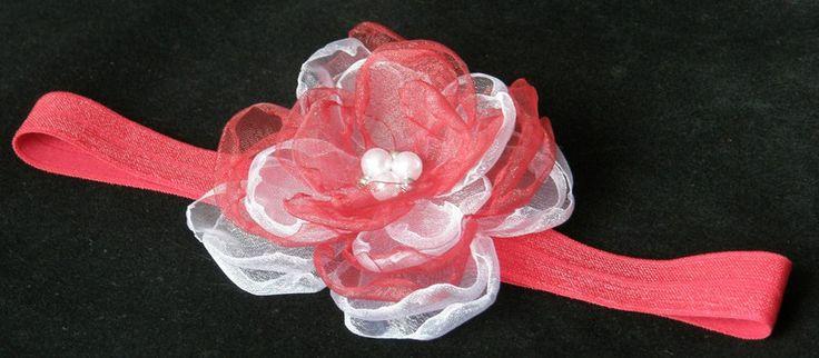 Haarbänder - Baby Haarband Taufe Haarband weiss/rot - rot - ein Designerstück von Candelita123 bei DaWanda