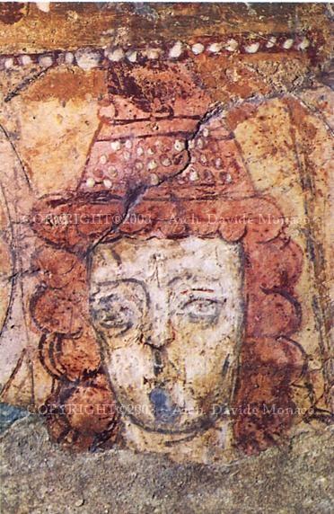 Abbazia di San Vincenzo al Volturno, gli affreschi del IX secolo, il periodo longobardo. Esempio del movimento pittorico longobardo beneventano, sono opera di artisti anonimi legati alla Scuola di miniatura beneventana, realizzati nel secondo quarto del IX secolo.