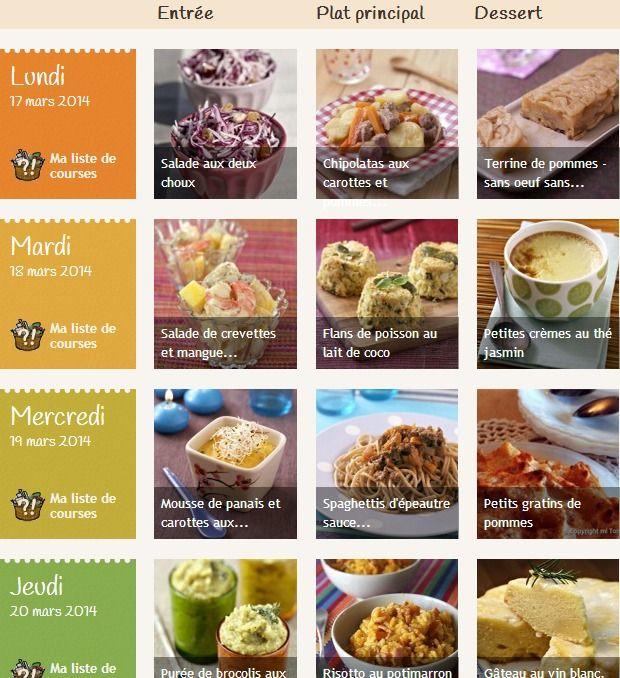 Bien organiser ces repas pour éviter les pertes. Ce site regroupe des liens pour des idées de menus.