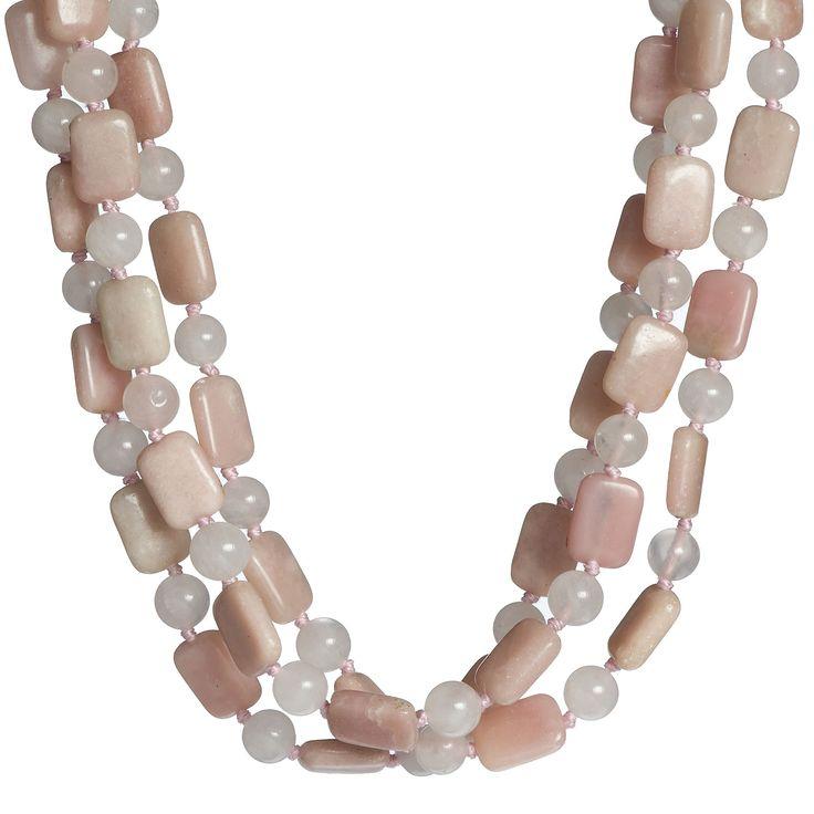 Aluma Collana a tre fili in quarzo e opale rosa