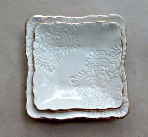 De anidación cuencos cerámica set de dos DE blanco con por dgordon