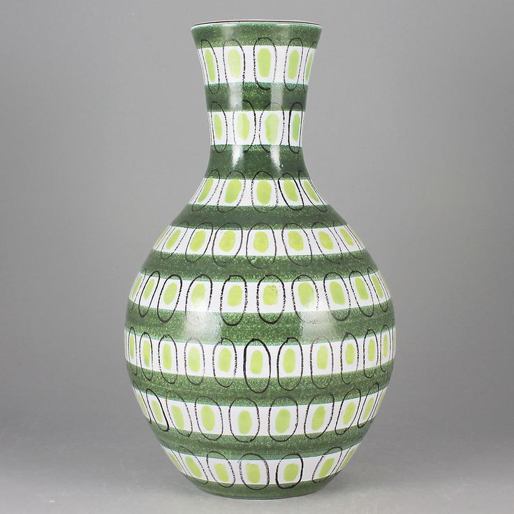 Stig Lindberg (1950s) Gorgeous Green  Pink and Gray Faience Vase