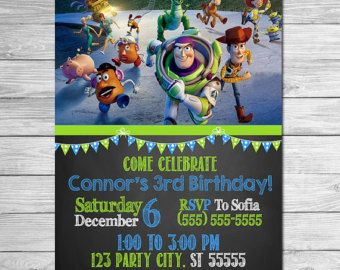 Toy Story Invitation Chalkboard Blue Red // Toy by ItsACowsOpinion