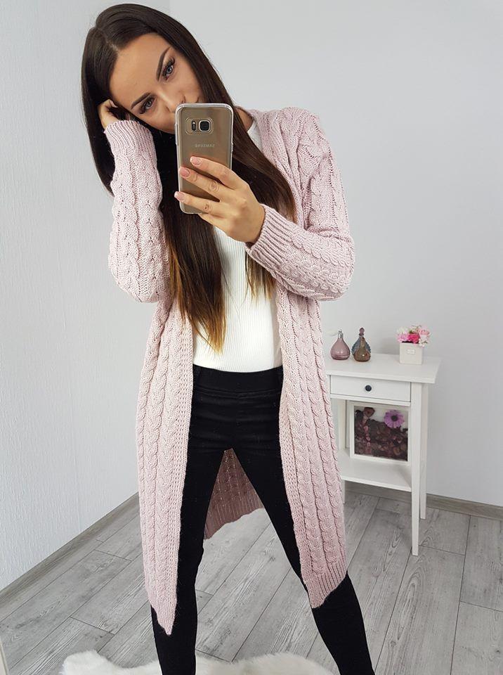 79c0f19f60d1 Kardigán dlhý sveter ružový
