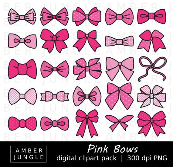 Pink Bows Clipart  35 Bow Images  Instant Download  by AmberJungle