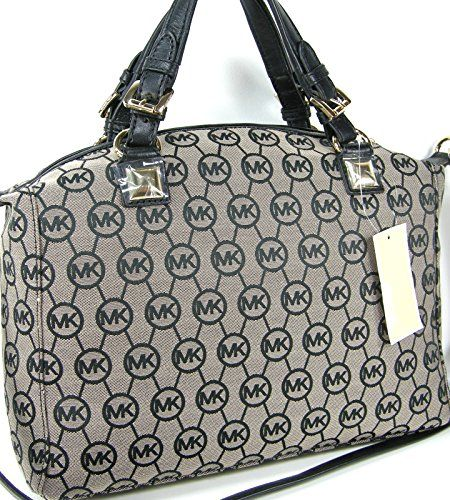 Michael Kors MK Circle Logo Purse Calista Large Satchel Black Beige Hand Bag  Michael Kors http