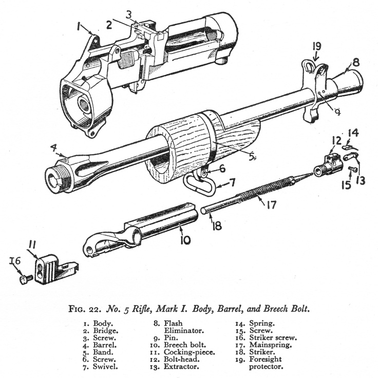Line Art Extractor : Line drawing of no mki rifle receiver bolt and barrel
