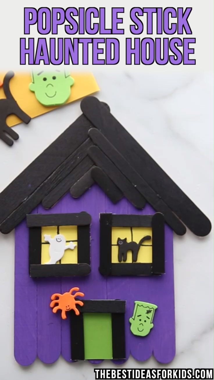 POPSICLE STICK HAUNTED HOUSE 🏚️   – Halloween Crafts for Kids