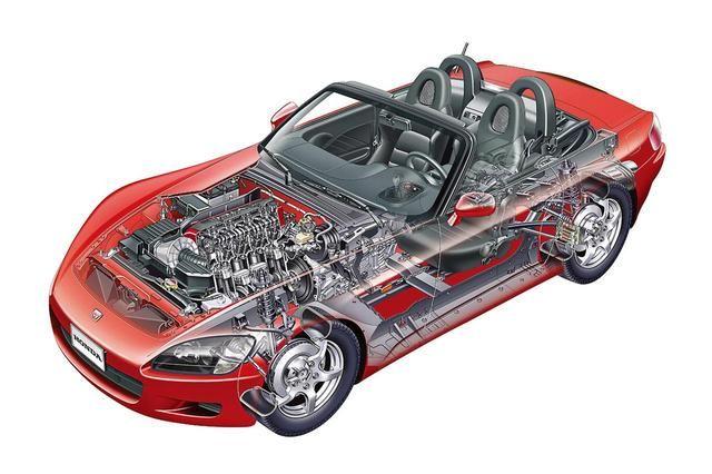 画像 S2000に採用されたハイxボーンフレームは独自開発 オープンボディを感じさせない高い剛性感が味わえた ホンダ S2000 ホンダ 自動車