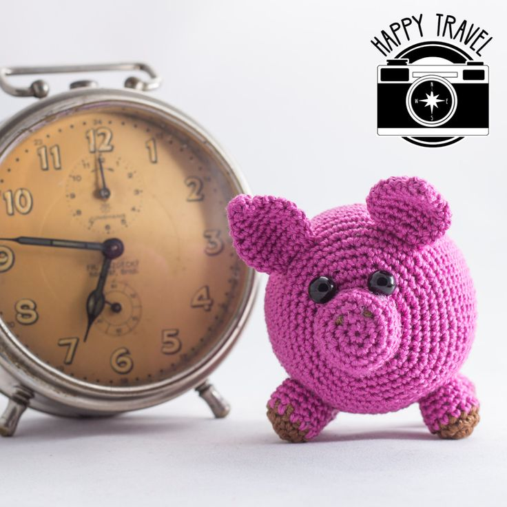 Travel toy - handmade crochet pink pig, great travel friend, perfect shots, traveler buddy, amigurumi toy, a pig, crocheted stuffing pig, by HappyTravel on Etsy