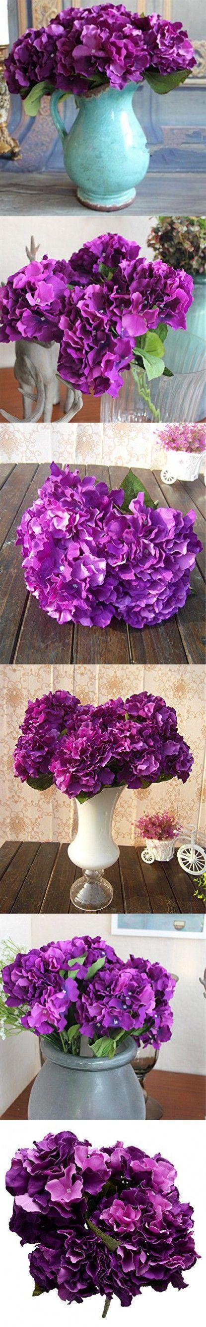 Derker Silk Artificial Hydrangea Bouquet 5 Big Heads Hydrangea Flowers Arrangement Home Wedding Centerpieces Christmas Decoration (Dark Purple)