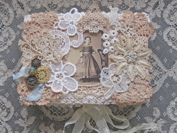 Shabby Chic Altered Vintage Box  Antique Laces and by KISoriginals, $35.00
