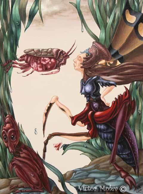 "Victor M. Molev (©2013 artmajeur.com/victormolev) ""Unsung song of Alice Cooper about love of insects"" ""Неспетая песня Элиса Купера о насекомой любви.""   45х61cm  oil on canvas"