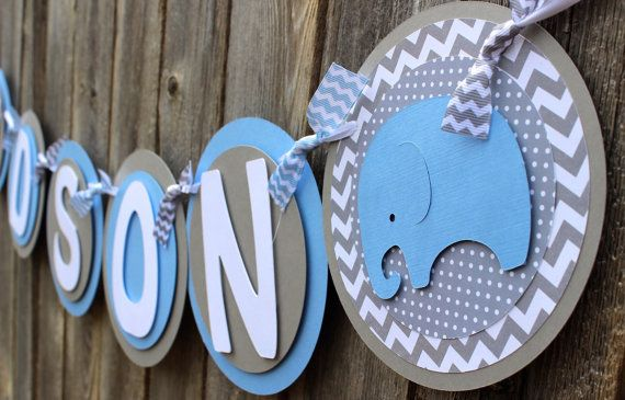 Elephant IT'S A BOY Banner or NAME Elephant Banner or Elephant Photo Prop Banner for Baby Shower or Birthday in Light Blue and Gray Chevron