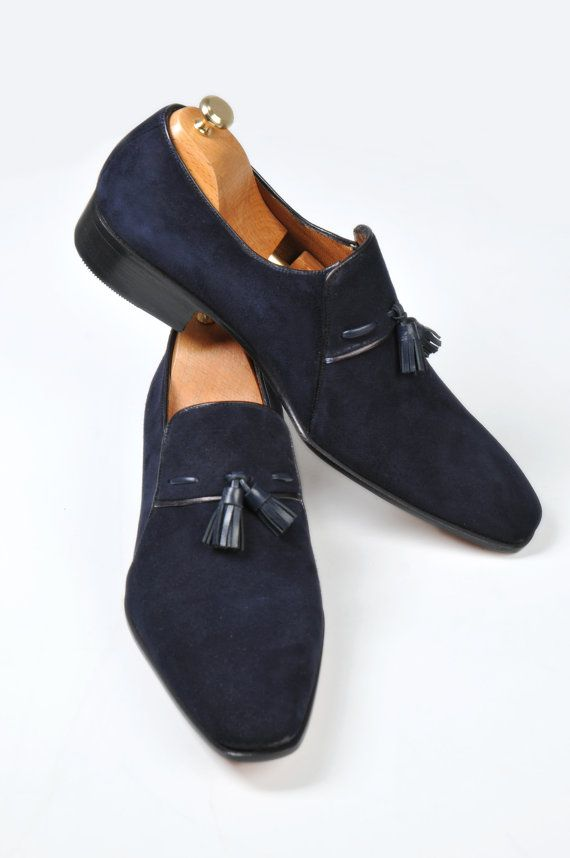 Handmade Special Design Luxury Navy Blue Mens by UstabasShoes, $299.00