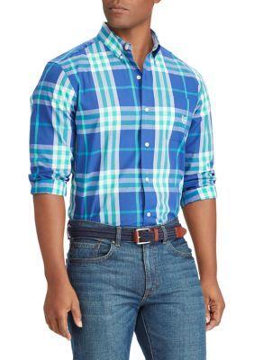 Chaps Men's Plaid Cotton-Blend Shirt - Myth Blue - 2Xl