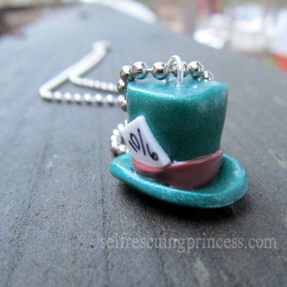 Mad Hatter Pendant Necklace by SelfRescuingPrincess on Etsy   11 00