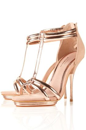 : Shoes, Fashion, Style, Party Barely, Sandals, Heels, Rose Gold, Topshop