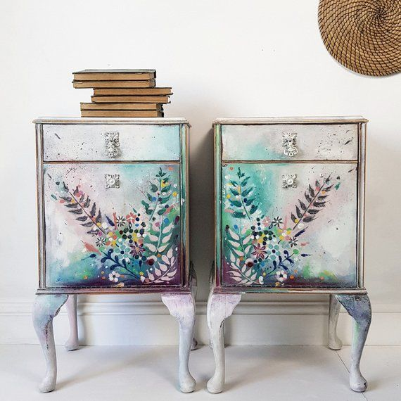 Vintage Pair Of Hand Painted Floral Bohemian Bedside Cabinets Dating From The 1930s And Made By Quality Maker Wrightons Painted Furniture Funky Furniture Hand Painted Furniture