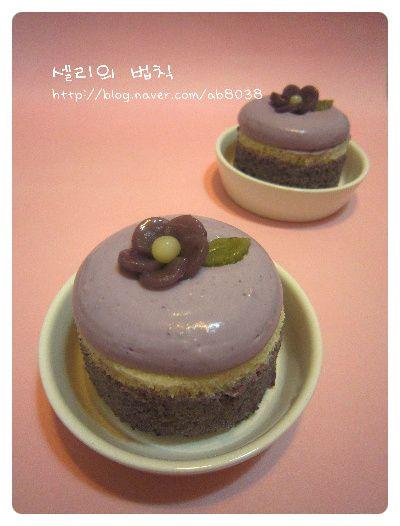 - 블루베리 크림치즈 블러썸 떡케이크 - ( 분량 : 미니 사이즈 떡 케이크 3개 -지름 7cm . 높이 4.5cm ) 크...