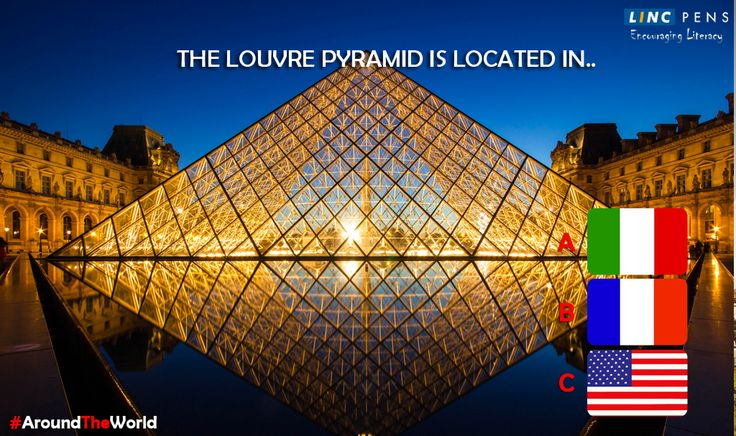 The Louvre Pyramid is a large glass and metal pyramid located in...? #AroundTheWorld A. Italy B. France C. USA