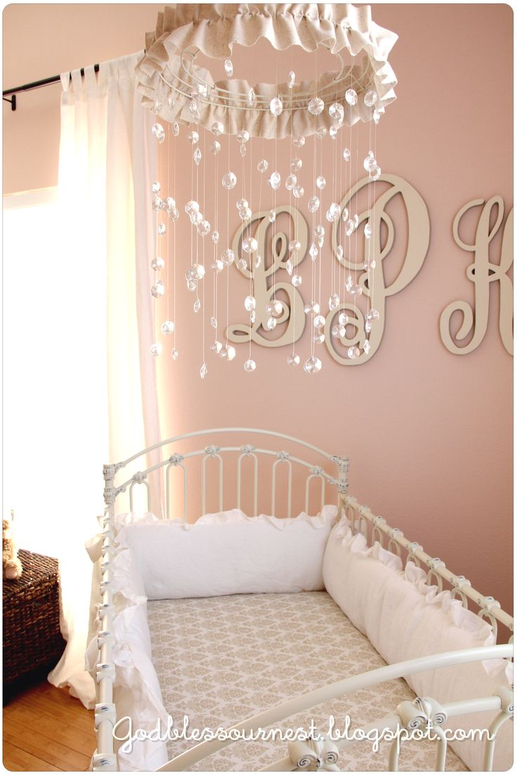 God bless {our} nest: DIY: Crystal Baby Mobile...also love the simple monogram on the wall. once we figure out baby's name we could do that!