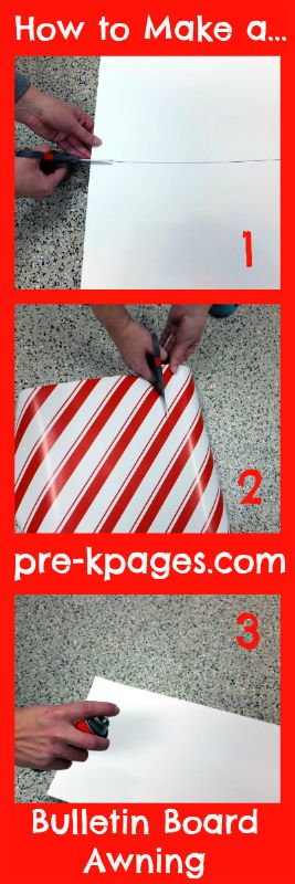 How to Make a Bulletin Board Awning for your classroom via www.pre-kpages.com