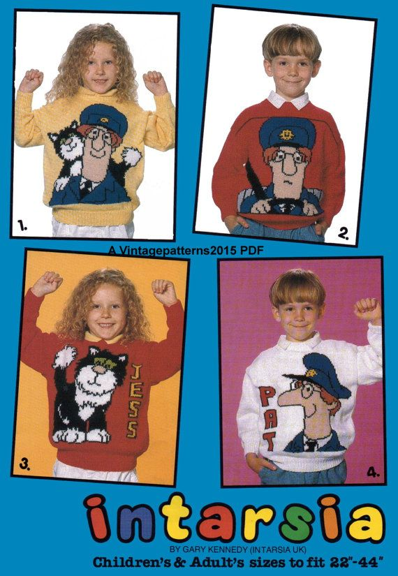Hey, I found this really awesome Etsy listing at https://www.etsy.com/uk/listing/246032907/4-postman-pat-sweater-knitting-patterns