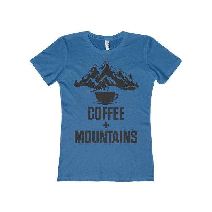 Coffee + Mountains: Blue Women's Tee. Pacific Northwest. Seattle. Washington State. Portland Oregon.