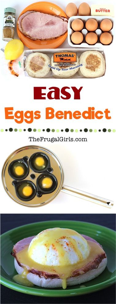 Eggs Benedict Recipe!  This Easy Hollandaise Sauce and Eggs Benedict is the perfect addition to your weekend or holiday brunch menu!  Simple and SO delicious! | TheFrugalGirls.com