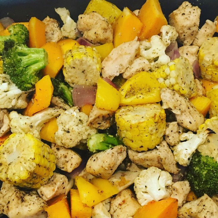 One Pot Roast Chicken, Corn and Vegetables. Our new family favourite. Visit the page for a free printable. Super easy.