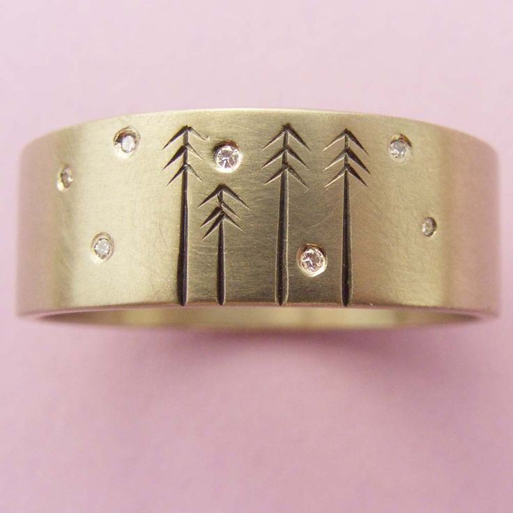 Wedding Band 14ct Gold and Diamond with Pine Trees. $1,500.00, via Etsy.