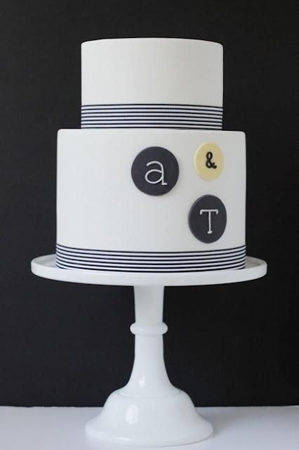 Modern Two-Tiered Wedding Cake @deanna hughes Ball - a couple of choices on this sight