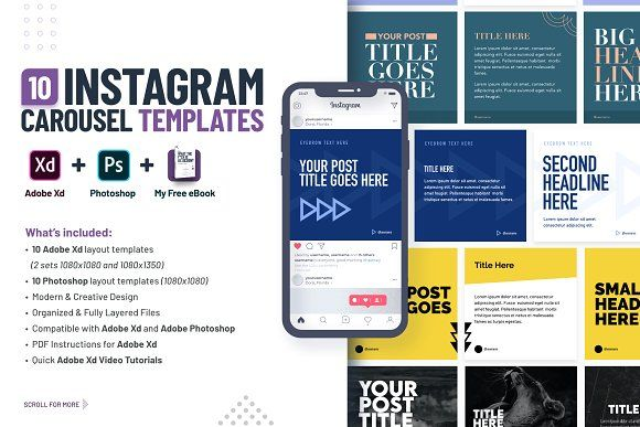 Instagram web free is a simple instagram browser layout mockup. Instagram Carousel Templates Xd Ps Templates Instagram Story Template Instagram Template