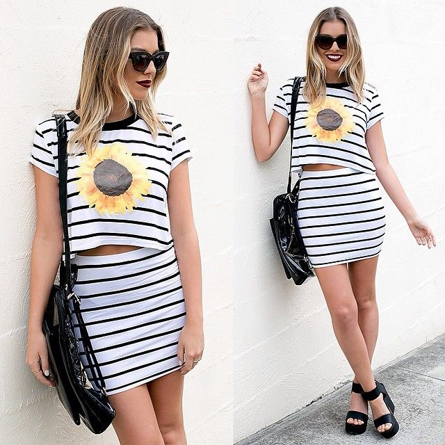 Shop @ http://bb.com.au two piece set, stripes, black heels, lipstik heels, casual style, sunday style inspo, sunflower fashion, outfit inspo