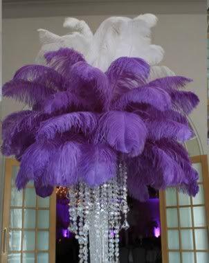 xv++años+decoraciones+de+morado+ | Centros de mesa de 15 años con plumas