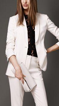 Stretch Virgin Wool Blend Tuxedo Jacket | Burberry