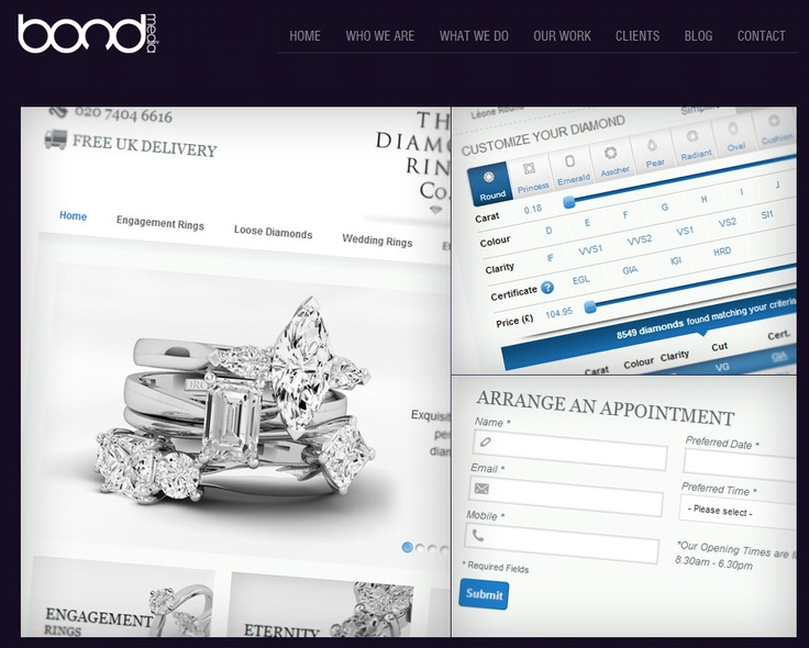 THE DIAMOND RING COMPANY ~ When we met the guys at The Diamond Ring Company, they had showed us how they managed their site and also explained what elements took them too long to manage. They explained what features they wanted along with an upgrade to the latest version of Magento E-commerce.