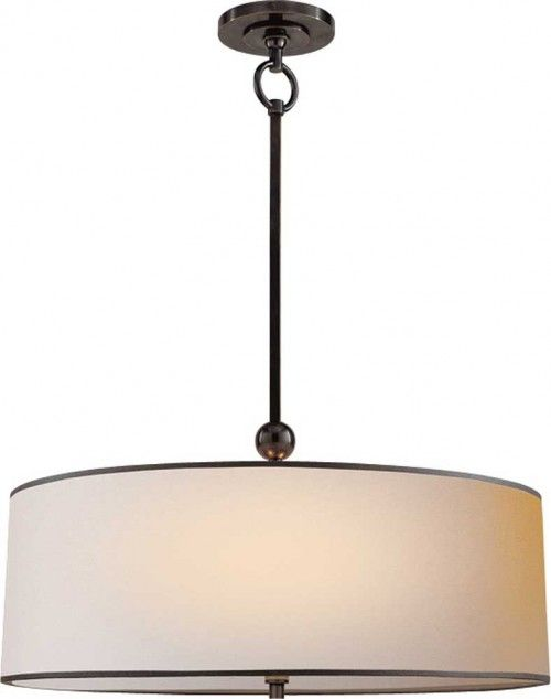 Reed Hanging Light - $357.00  If you're looking for a little bit more detail and tailoring in your barrel shade fixture - you've found the pefect option here. This is great for a kitchen table - it's simple and elegant at the same time, and black and white never goes out of style.