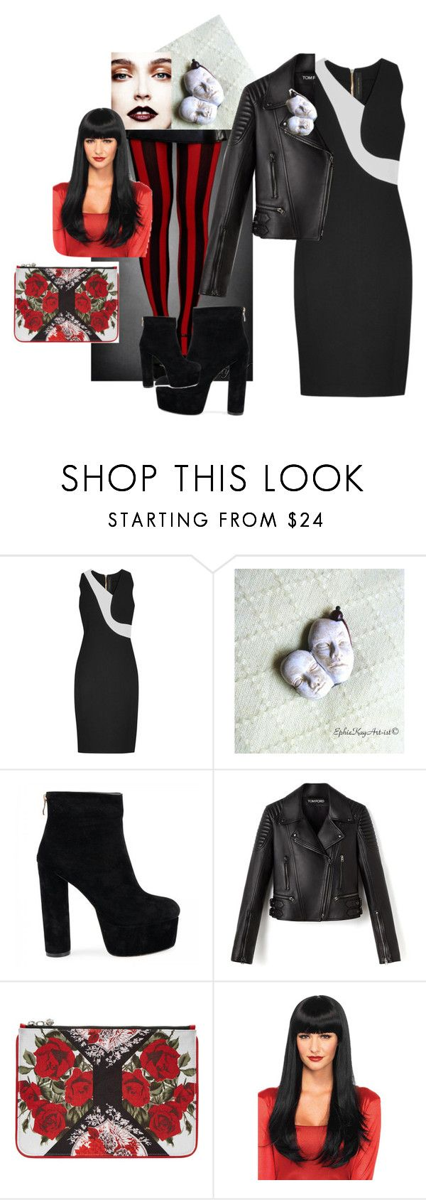 """Leather Black Roses Rock Chique by Ephie Kay Art-ist"" by ephiekayartist on Polyvore featuring Roland Mouret and Alexander McQueen"