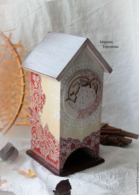 """Кухня ручной работы. Ярмарка Мастеров - ручная работа. Купить Чайный домик, для чайных пакетиков """" Ажурный, марсала"""". Handmade."""