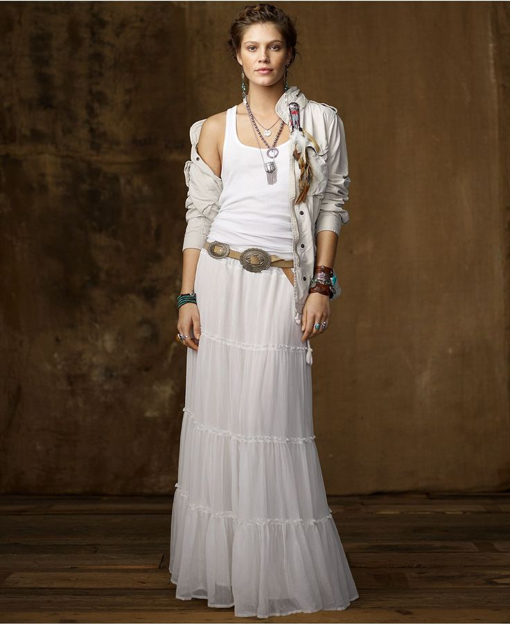 Denim & Supply Ralph Lauren Skirt, Broomstick Crinkled Tiered Maxi - Womens Skirts - Macy's