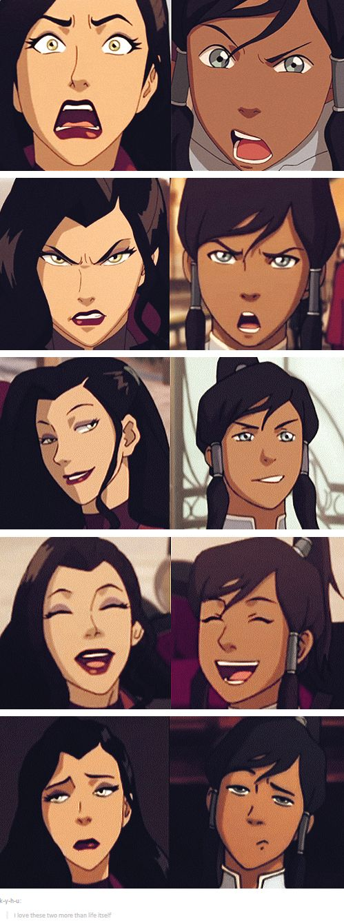 Korra and Asami's priceless facial expressions! It's definitely cuz they're BFFs.