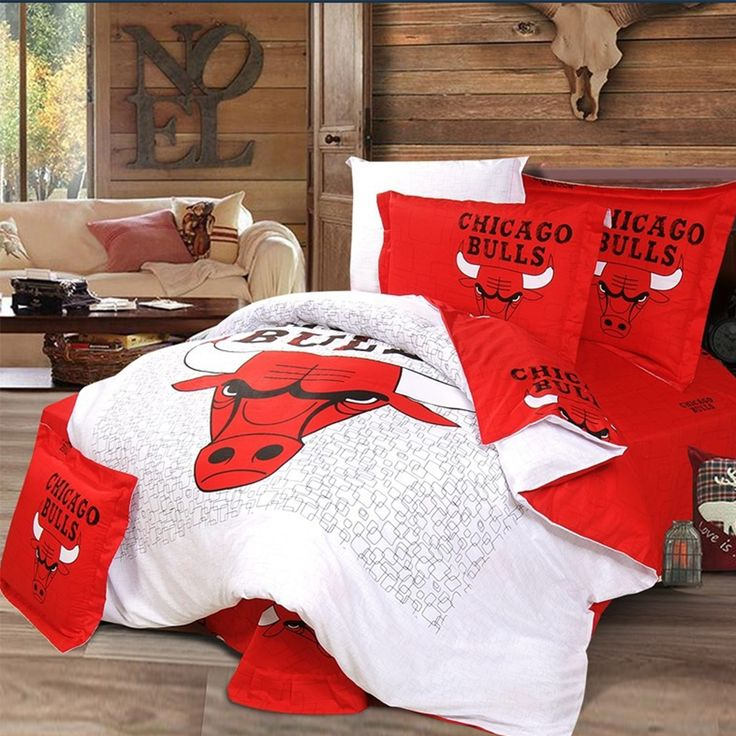 Chicago Bulls Bedding Set 4pcs King Queen Twin Size Bed Set 100