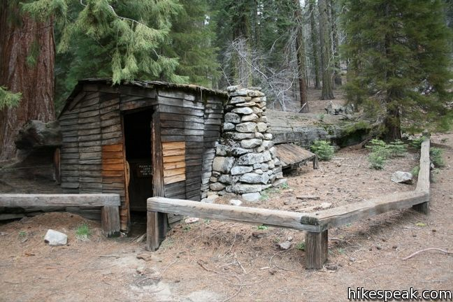 Crescent Meadow Loop to Chimney Tree and Tharp's Log in Sequoia National Park-Tharp's Log (6) in Sequoia National Park is a fallen giant sequoia into which a 19 th century cattlem an built his hom e. It is loca ted in Giant For e st nea r Cre s cent Me ado w