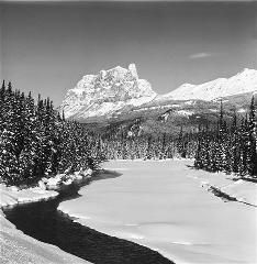 Bruno Engler Black And White Photographs  Castle Mountain And Bow River (Photograph) (BRUORGSW084)